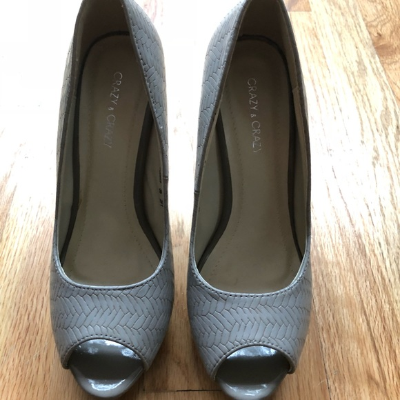 Crazy and crazy Shoes - Grey faux leather peep toes BRAND NEW